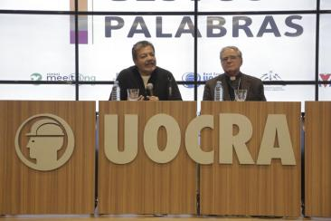 GERARDO MARTINEZ AND MONSIGNOR OSCAR OJEA HEADED THE PRESENTATION OF THE EXHIBITION AT UOCRA CULTURAL SPACE